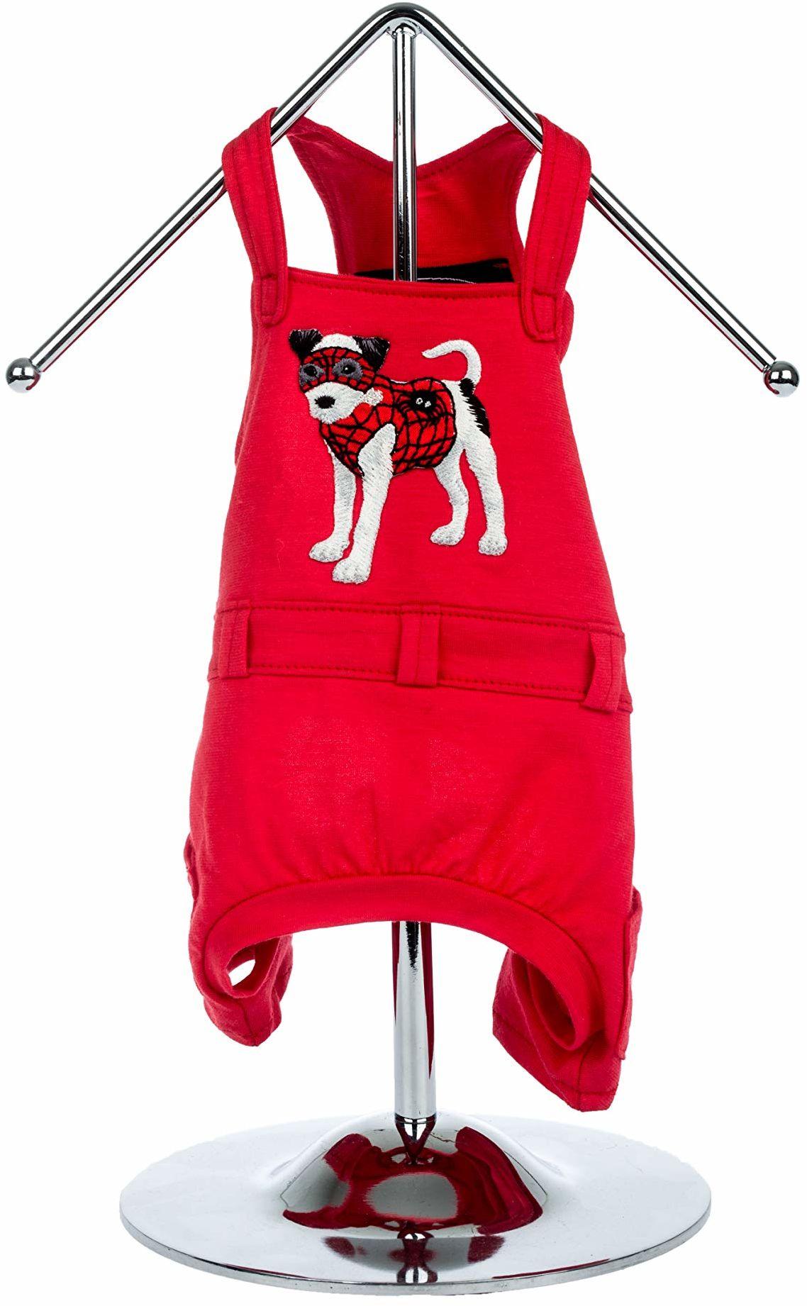 """Trilly Tutti Brilli 15-BEGONIARSSXS Begonia spodnie ogrodniczki z aplikacją termiczną""""Spiderdog"""", XS, czerwone"""