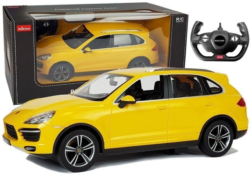 Auto R/C Porsche Cayenne Rastar 1:14 Żółte na pilota
