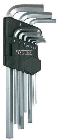 Zestaw kluczy imbusowych HEX 1.5 - 10 mm DŁUGI 35D956 9 szt. TOPEX