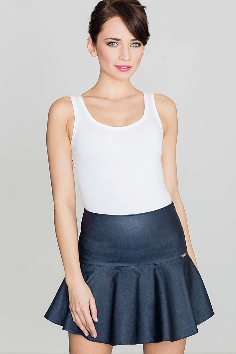 Niebieska szykowna mini spódnica wykończona szeroką falbanką