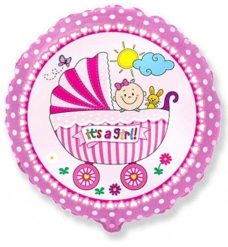 """Balon foliowy 18"""" FX Wózeczek dziecięcy, różowy"""