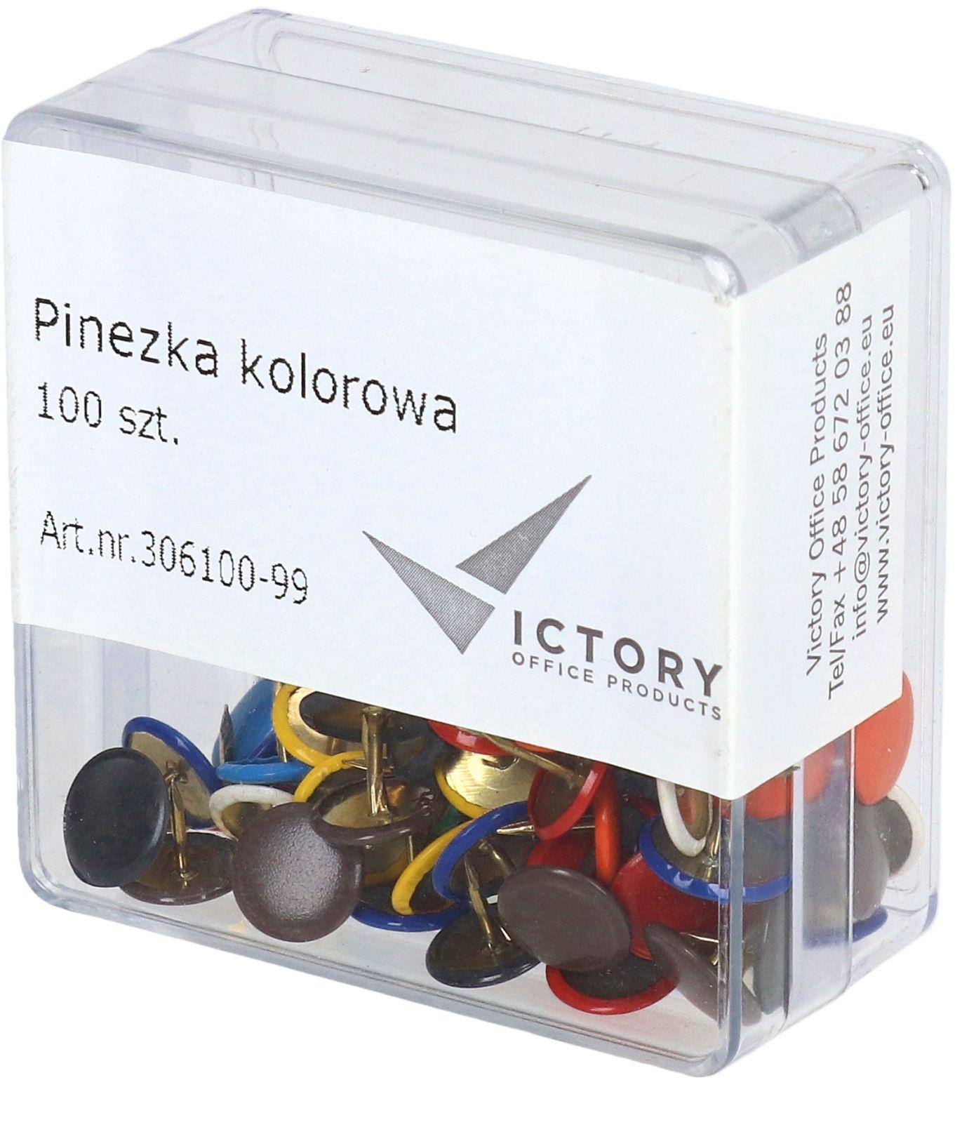 Pinezki kolor (100) pudełko Victory Office