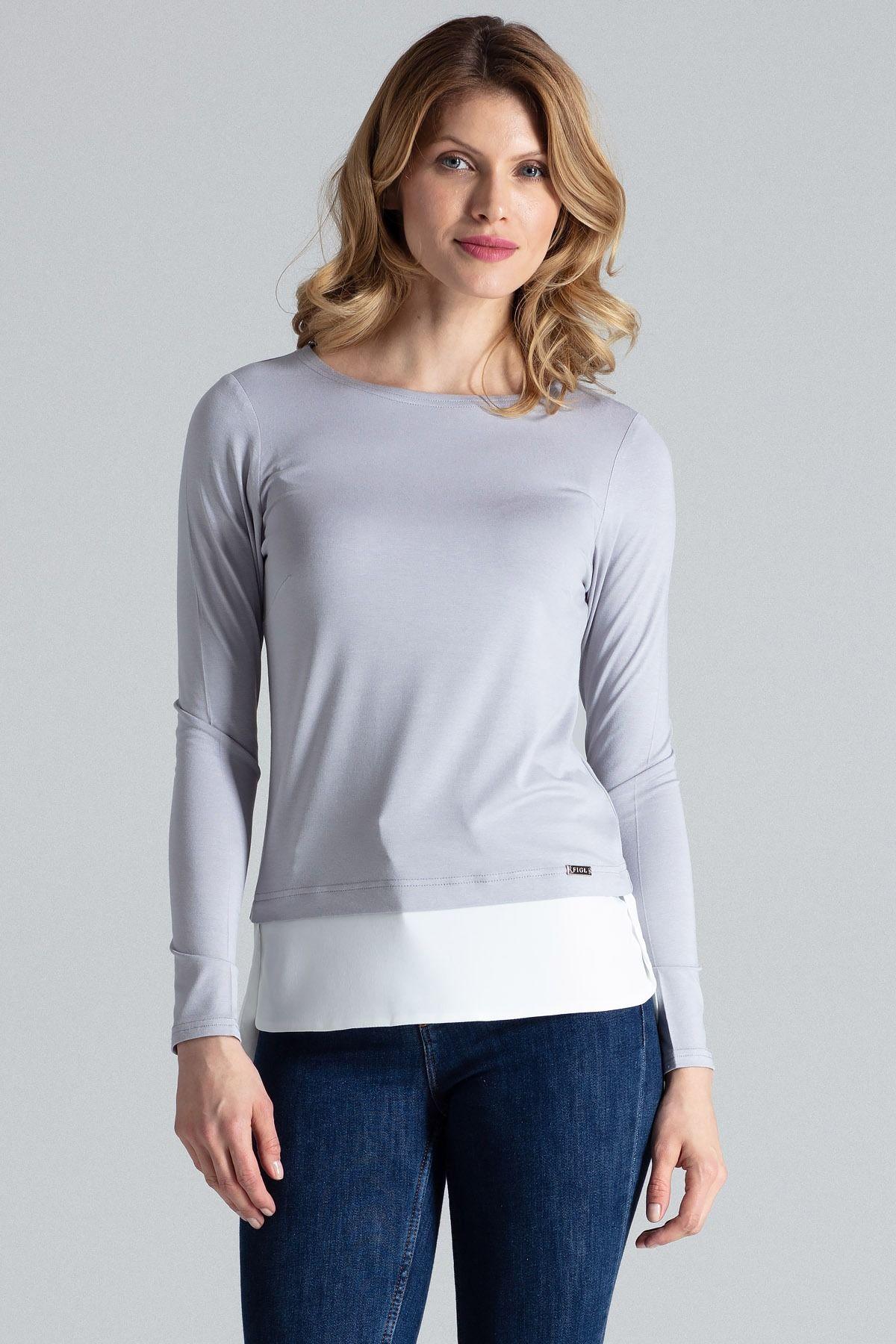 Ciemnoszara szykowna bluzka z długim rękawem wykończona kontrastową lamówką