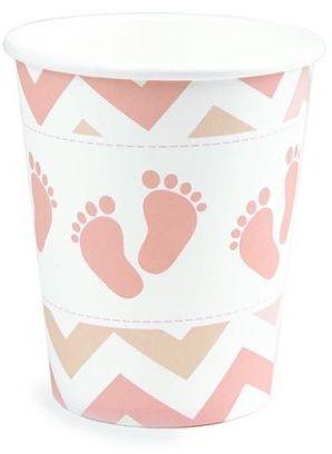 Kubeczki papierowe Baby Shower Stópki różowe 200ml 8 sztuk 510622
