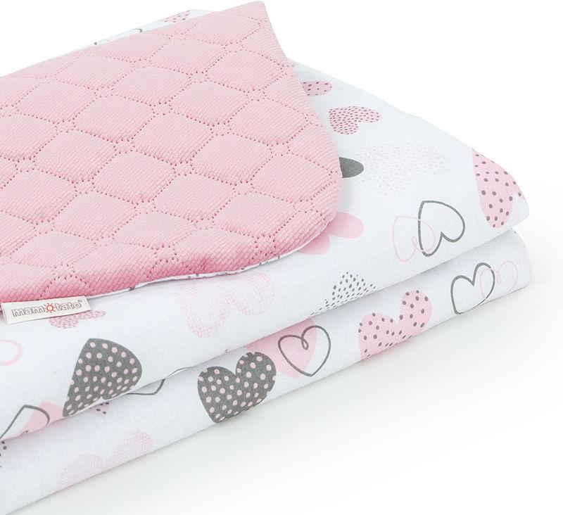 MAMO-TATO Kocyk dla dzieci i niemowląt 75x100 Velvet pikowany dwustronny Pastelowe serduszka / różany