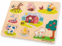 New Classic Toys 10430 Peg Puzzle Gospodarstwo Edukacyjne Drewniane zabawki dla 2-letniego chłopca i dziewczynki maluchów wielokolorowe - 8 sztuk - 100% certyfikat FSC