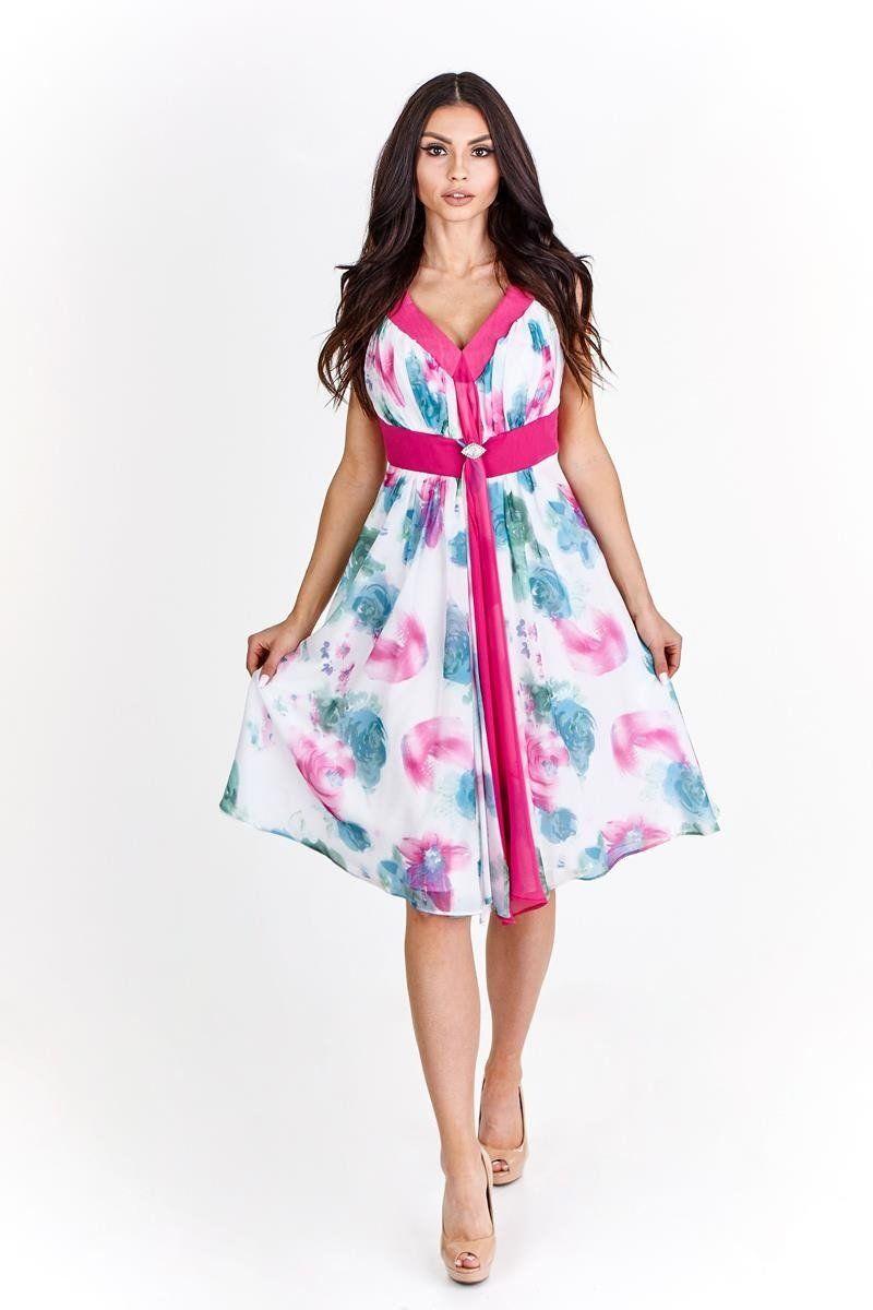 Sukienka FSU212 AMARANTOWY JASNY BIAŁY