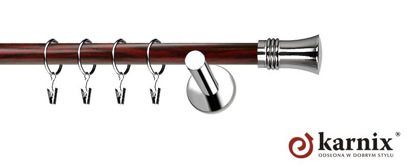 Karnisze Nowoczesne NEO Prestige pojedynczy 19mm Capri INOX - mahoń