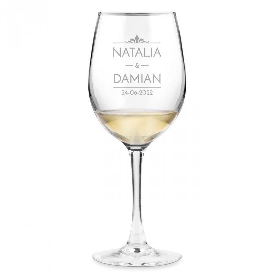 Kieliszek szklany do wina z grawerem dla pary na ślub rocznicę