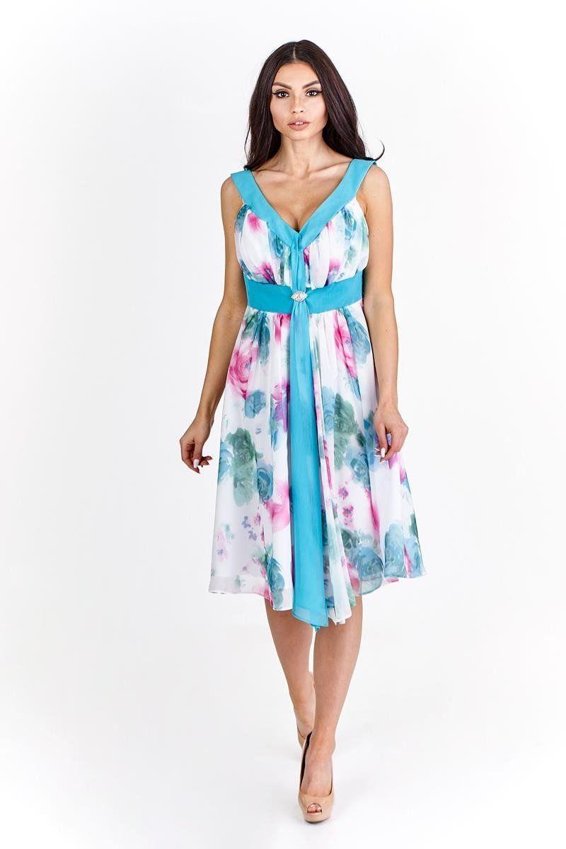 Sukienka FSU212 BIAŁY TURKUSOWY ŚREDNI