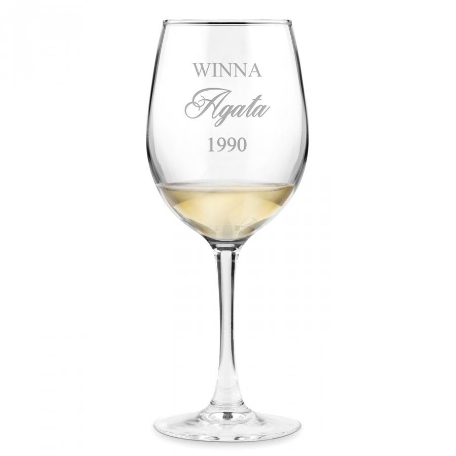 Kieliszek szklany do wina grawer z dedykacją dla niej