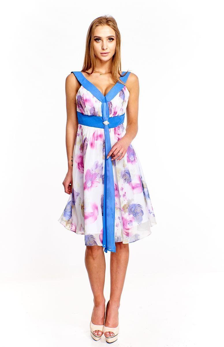 Sukienka FSU212 CHABROWY JASNY BIAŁY