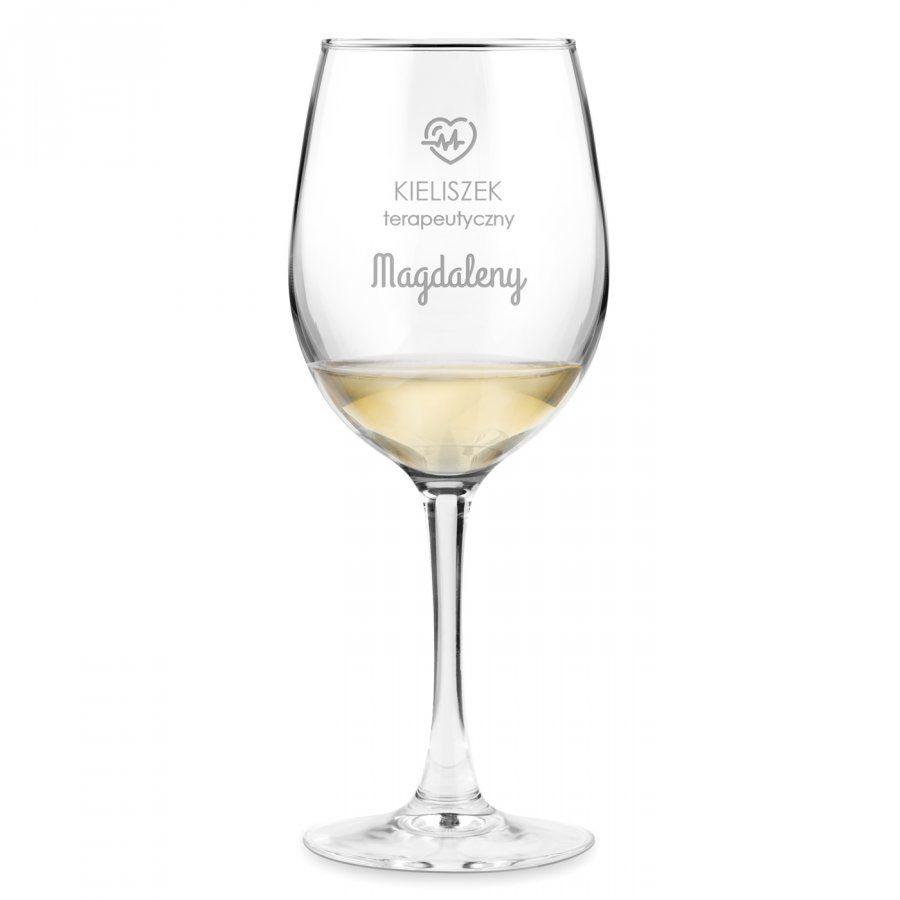 Kieliszek szklany do wina grawer terapeutyczny z dedykacją dla niej