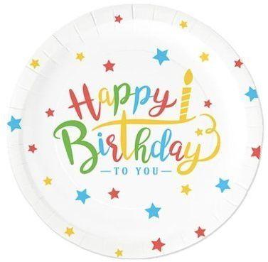 Talerzyki papierowe Happy Birthday 18cm 6 sztuk 510796