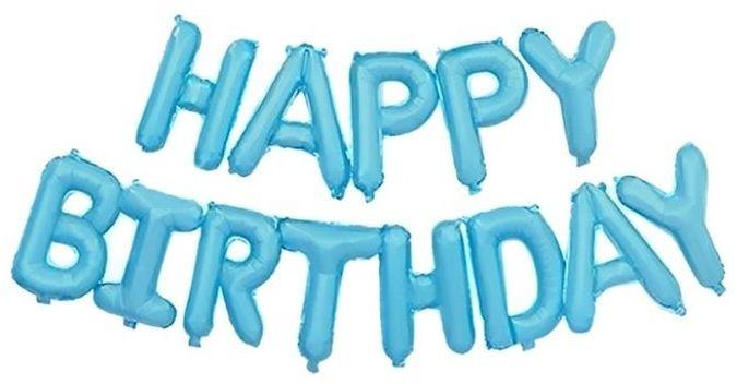 Balony foliowe napis Happy Birthday 340 x 35 cm niebieskie 460041