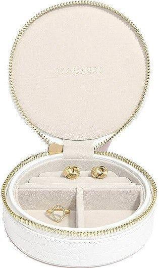 Pudełko na biżuterię podróżne travel okrągłe croc białe