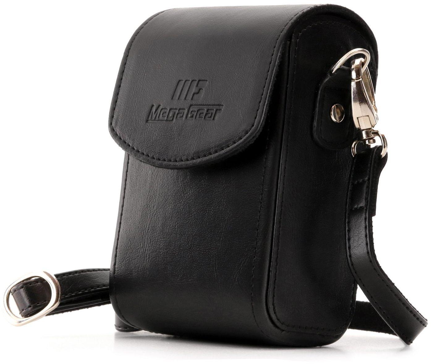 MegaGear MG882 Nikon Coolpix A1000, A900 skórzana torba na aparat z paskiem do noszenia - czarna