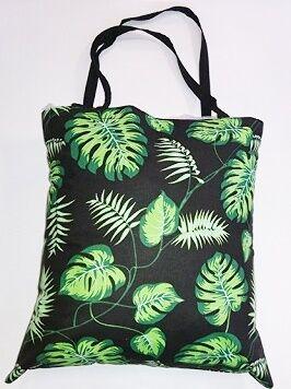Torba bawełniana na zakupy 37x38 czarna palmy liście zielone 178b