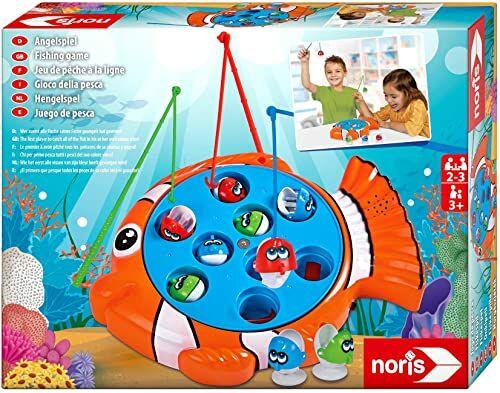 Noris 606064296 zabawka wędkarska, ekscytująca zabawka dla dzieci z kolorowymi rybami z tworzywa sztucznego i 3 wędkarstwa, od 3 lat