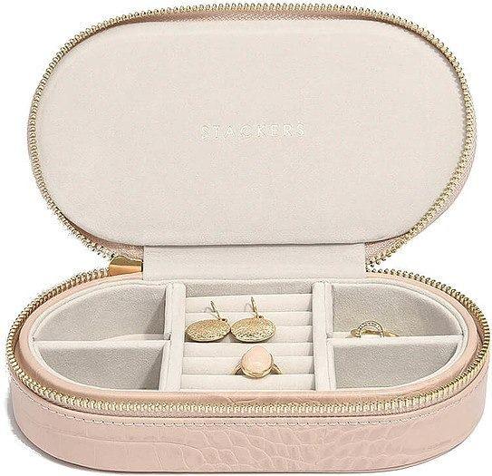 Pudełko na biżuterię podróżne travel owalne croc różowe