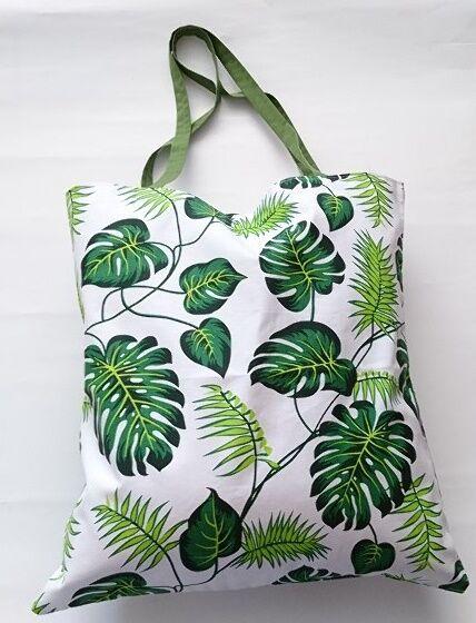 Torba bawełniana na zakupy 37x38 biała liście monstery zielone monstera palmy 178a
