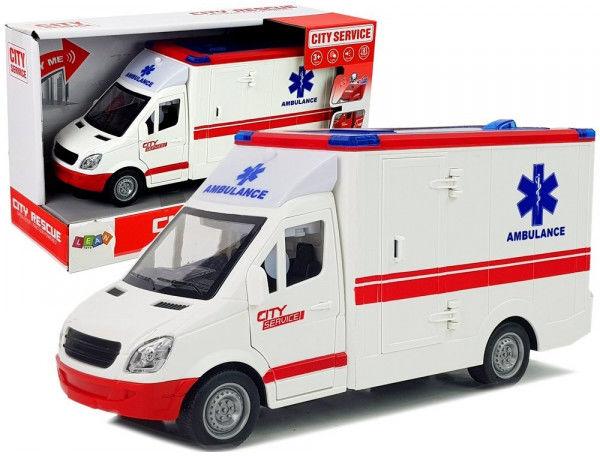 Ambulans Z Napędem Frykcyjnym 1:16 Dźwięk Światła