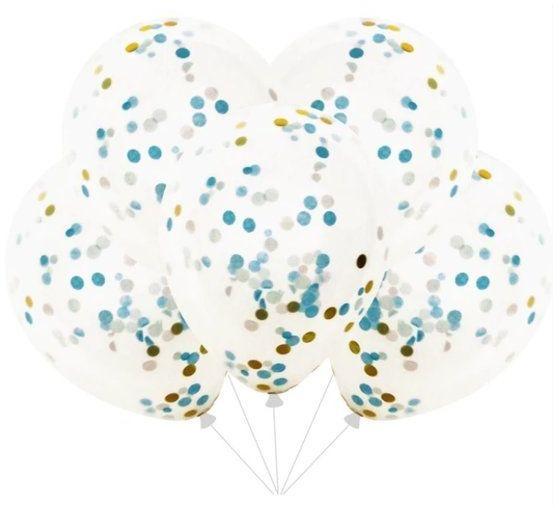 Balony przezroczyste z niebieskim i złotym konfetti 30cm 4 sztuki 400105