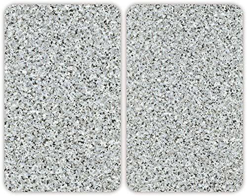 WENKO Uniwersalna płyta ochronna granitowa  zestaw 2 szt., osłona na płyty grzewcze i szklana deska do krojenia do wszystkich rodzajów kuchenek, szkło hartowane, 30 x 1,8  5,5 x 52 cm, wielokolorowa