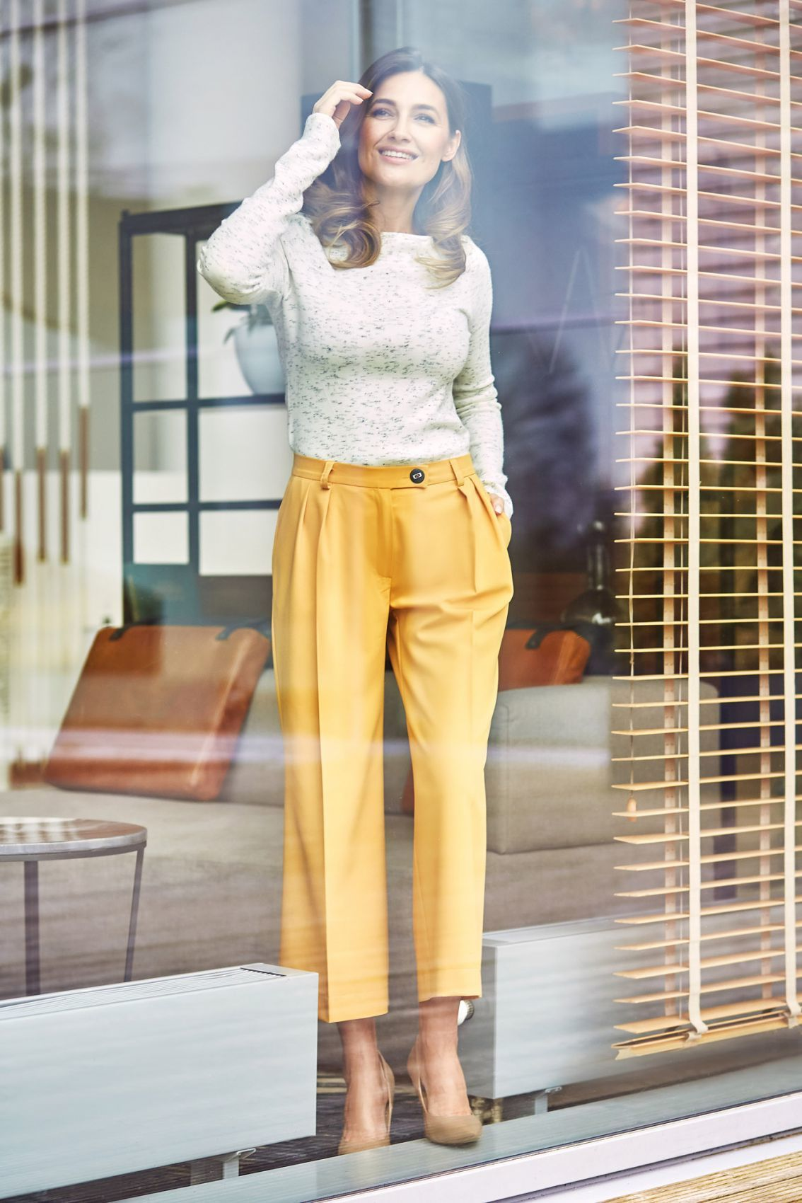S139 Spodnie cullotes - żółte