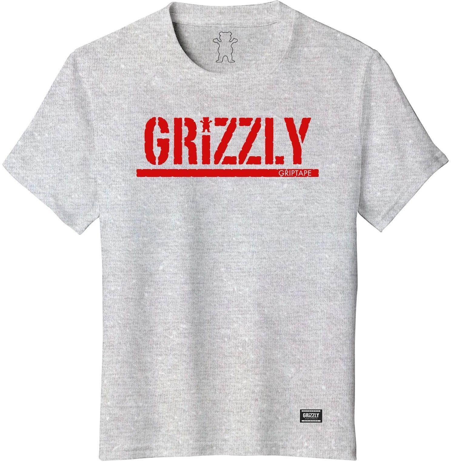 t-shirt dziecięcy GRIZZLY YOUTH STAMP TEE Heather/Red