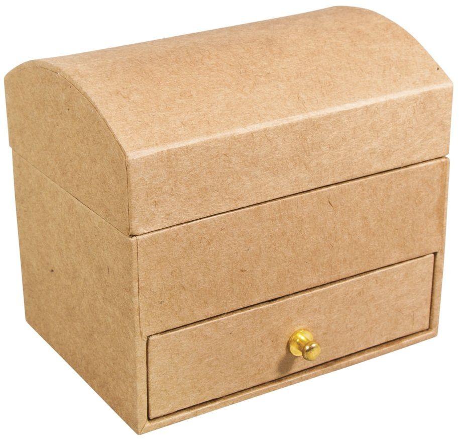 Rayher kartonowa szkatułka na biżuterię, 10,3 x 7,7 x 9,2 cm, z lustrem, z masy papierowej, kolor naturalny, 10,3 x 7,7 x 9,2 cm