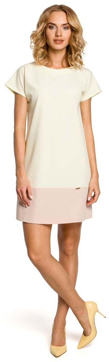 Pastelowa prosta mini sukienka - żółty