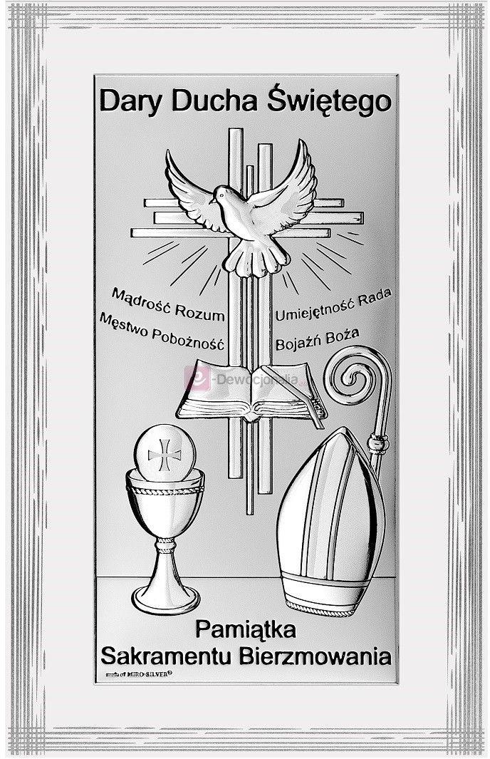 Obrazek srebrny - Pamiątka Sakramentu Bierzmowania - [różne rozmiary]