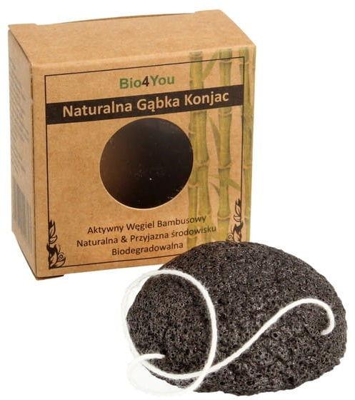 Naturalna gąbka konjac do oczyszczania twarzy z węglem bambusowym - bio4you