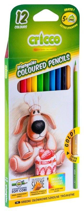 Kredki ołówkowe 12 kolorów Cricco CR322K12