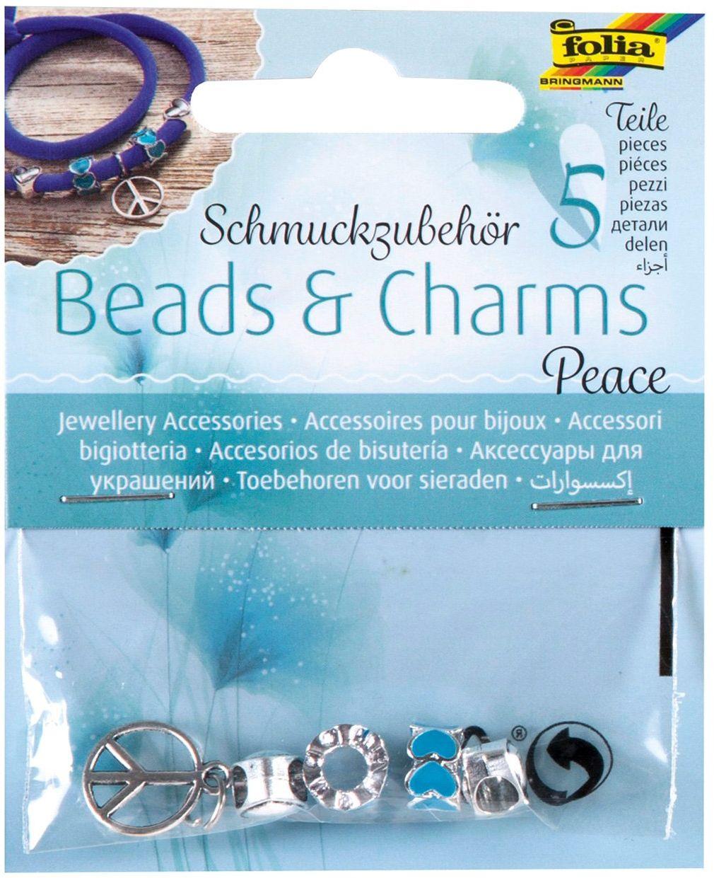 """folia 2242 - Akcesoria do biżuterii Beads & Charms """"Peace"""", 5 sztuk posortowanych - do tworzenia modnych bransoletek"""