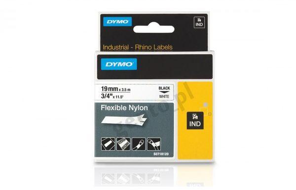 Etykiety, taśma DYMO IND 19mm NYLONOWA - S0718120 (18489) taśma biała, nadruk czarny -KURIER od 15zł!