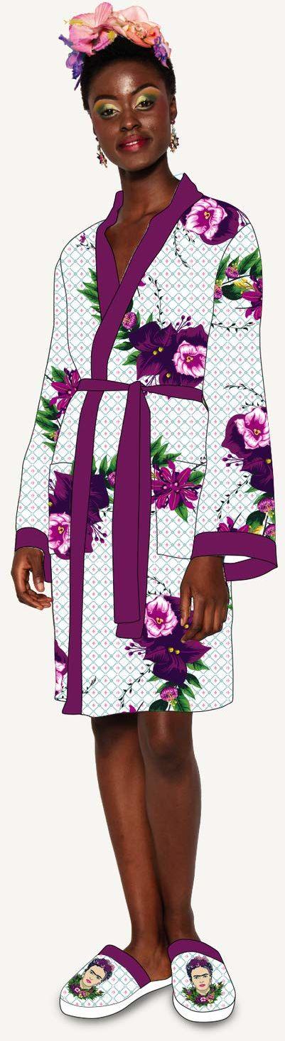 Groovy Frida Kahlo fioletowy bukiet satynowy styl damski szlafrok, jeden rozmiar