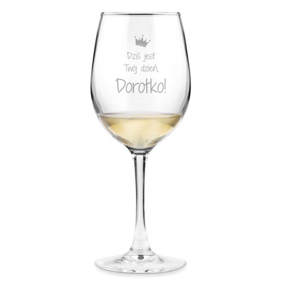 Kieliszek szklany do wina grawer z dedykacją dla niej wieczór p