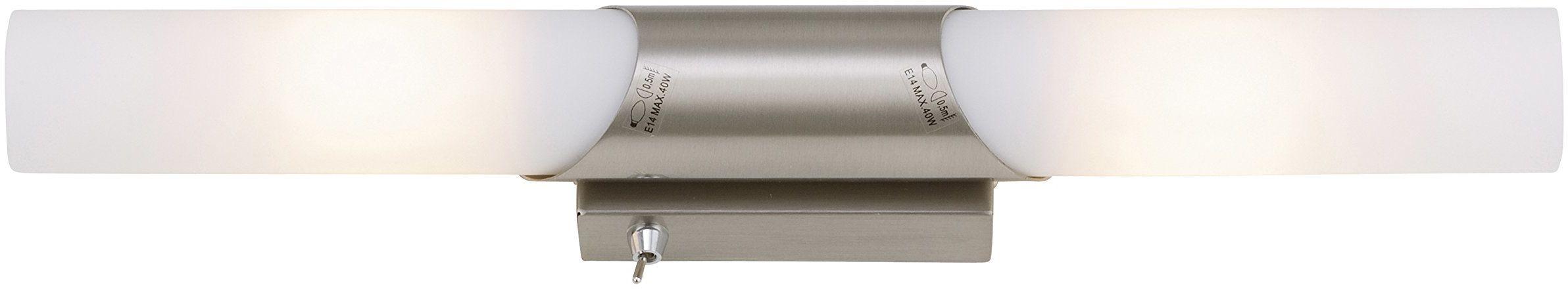 Briloner Leuchten Lampa ścienna, wygodny włącznik światła, oświetlenie lustra, lampa 2-żarówkowa, maks. 40 W, E14, długość: 43,5 cm