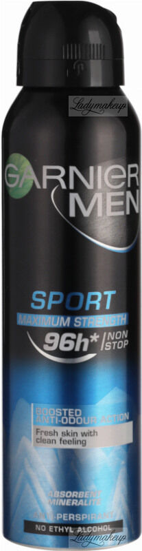 GARNIER - MEN - SPORT MAXIMUM STRENGTH 96h - Antyperspirant w areozolu dla mężczyzn - 150 ml