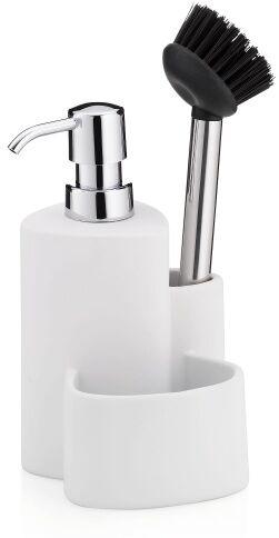 ceramiczny dozownik do mydła ze szczotką do naczyń, 10x11, wys.22 cm, 350 ml, biały