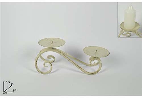 Dwa świeczniki Esse z 2 ramionami, postarzane żelazo, 10,5 cm, wielokolorowe