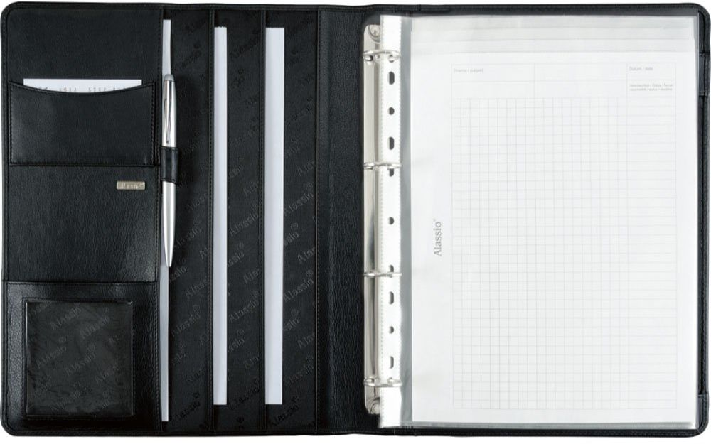 Alassio 30058  teczka na dokumenty CREMONA II w formacie DIN A4, teczka konferencyjna ze skóry nappa, teczka na dokumenty w kolorze czarnym, teczka ok. 32 x 25 x 2 cm