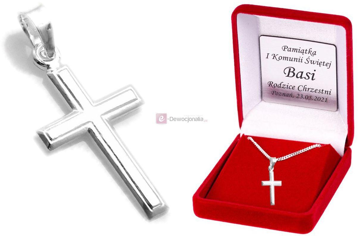 Srebrny krzyżyk i łańcuszek PANCERKA pr. 925 DEDYKACJA - Pamiątka prezent GRAWER