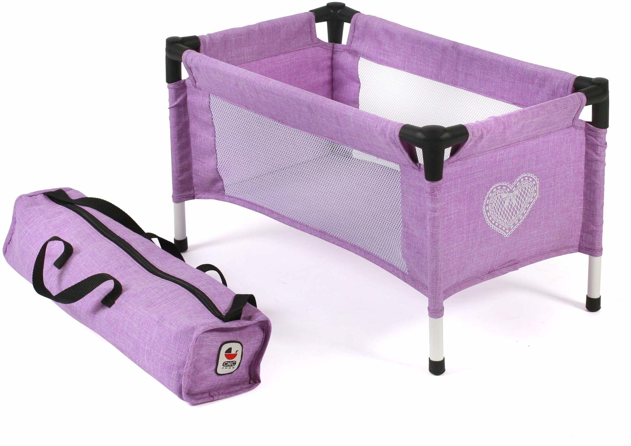 Bayer Chic 2000 652 35 łóżeczko turystyczne dla lalek niemowlęcych, fioletowe
