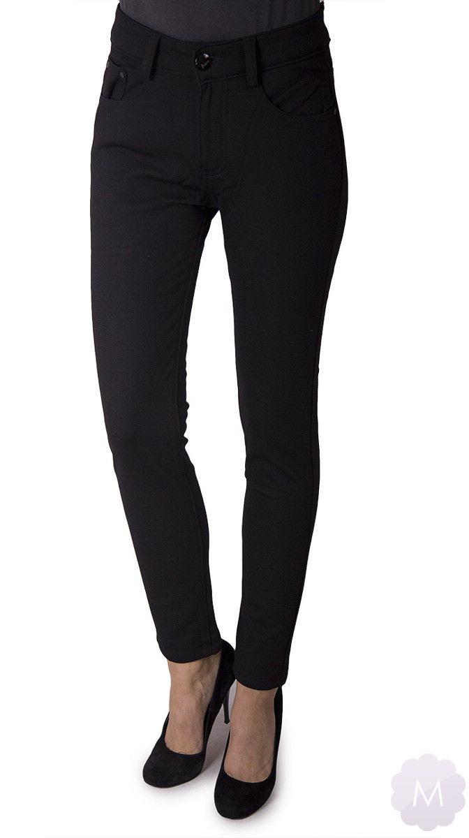 Ocieplane spodnie leginsy rurki czarne z wyższym stanem (A5802-1)