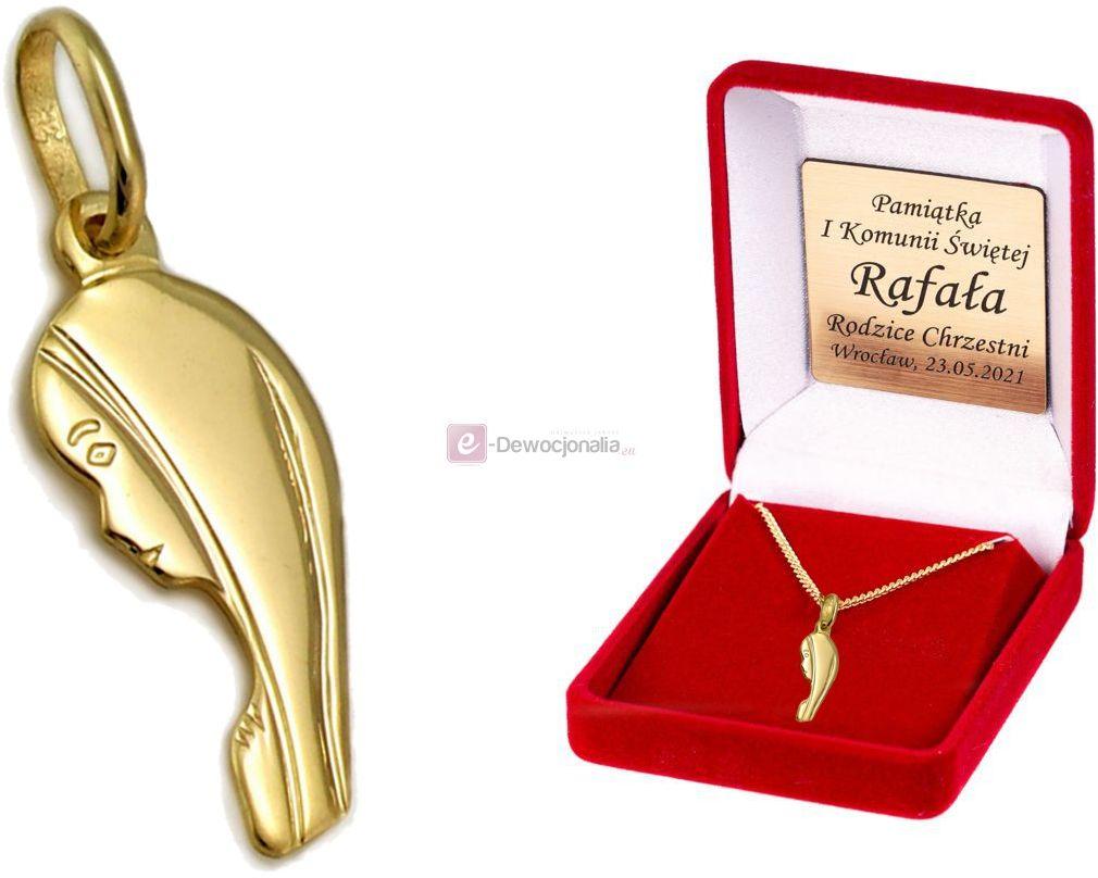 Złoty medalik MATKA BOSKA łańcuszek pr. 585 DEDYKACJA - Pamiątka Prezent Grawer