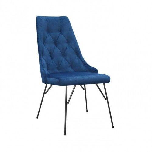 Krzesło jadalniane pikowane Nuit na metalowych nóżkach