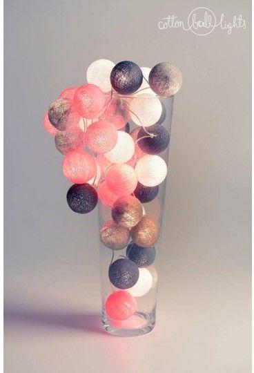 Kolorowe kulki LED kompozycja - Grey & Pink